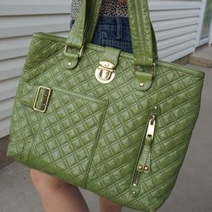 AuthenticMarc Jacobs Quilted Moss Green Patent Bag